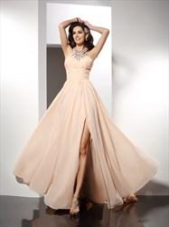 Sleeveless Floor Length Split Chiffon Prom Dress With Beaded Neckline