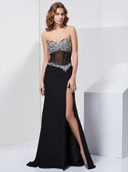 Black Strapless Split Chiffon Prom Dress With Illusion Jeweled Bodice