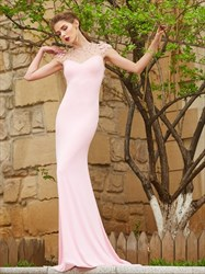 Gorgeous Pink Cap Sleeve Mermaid Formal Dress With Illusion Neckline