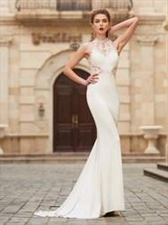 Sleeveless Elegant Lace Chiffon Mermaid Prom Dress With Illusion Back
