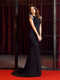 Black Floor Length Mermaid Open Back Evening Dress With Embellishment