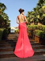 Coral Simple Floor Length Sleeveless Mermaid Prom Dress With Open Back
