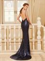 Black Sequin Floor Length Sleeveless Mermaid Prom Dress With Open Back