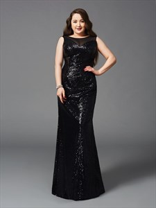 Women's Sleeveless Black Sequin Long Prom Dress With Sheer Neckline