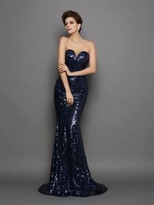Sparkly Strapless Sweetheart Floor Length Mermaid Sequin Formal Dress