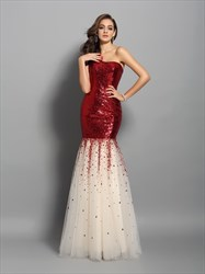 One Shoulder Sequin Bodice Tulle Bottom Drop Waist Mermaid Prom Gown