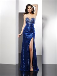Royal Blue Strapless Beaded Sweetheart Sequin Prom Dress With Split