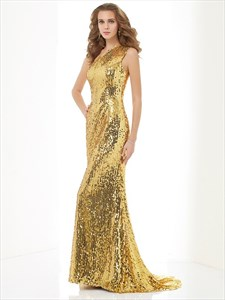 Simple One Shoulder Floor Length Sleeveless Mermaid Sequin Prom Gown