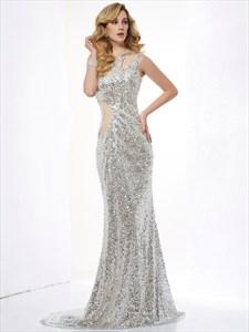 Illusion Silver One Shoulder Floor-Length Sequin Mermaid Evening Dress