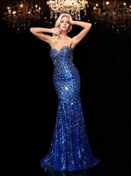 Royal Blue Strapless Low Back Mermaid Prom Gown With Jewel Embellished