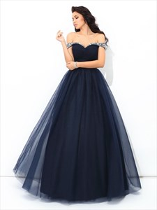 Navy Blue A-Line Off Shoulder Floor Length Ball Gown With Beaded Top