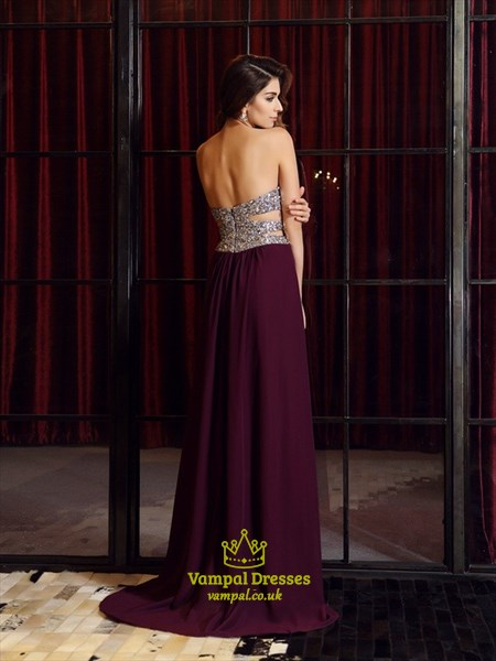 Grape Strapless Beaded Bodice Side Split Evening Dress With Cutouts