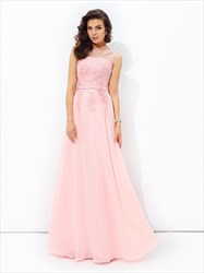 Blush Pink Illusion Neckline A-Line Floor Length Chiffon Prom Dress