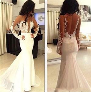 Long Sleeve Mermaid Chiffon Wedding Dress With Sheer Illusion Bodice