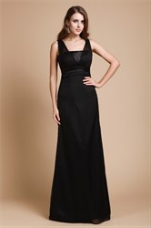 Simple Black A-Line Empire Waist Floor Length Prom Dress With Straps