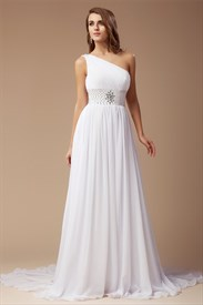 White One Shoulder A-Line Chiffon Prom Dress With Beaded Empire Waist