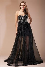 Black Strapless Jeweled Bodice A-Line Prom Dress With Sheer Overlay