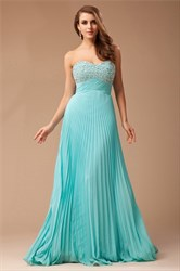 A-Line Strapless Empire Waist Beaded Bodice Ruched Chiffon Prom Dress