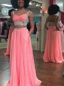 Two-Piece A-Line Sleeveless Lace Embellished Chiffon Long Prom Dress