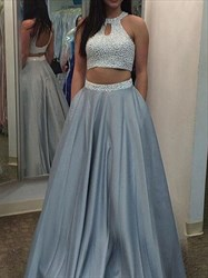 Two Piece Floor Length Beaded Top A-Line Prom Dress With Keyhole Front