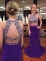 Purple Sleeveless Mermaid Two Piece Prom Dress With Keyhole Open Back