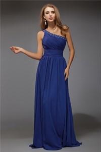 Royal Blue One Shoulder Ruched Empire Waist Chiffon Long Prom Dress