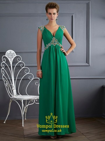 Emerald Green A Line Jeweled Cap Sleeve V Neck Open Back
