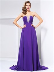 Purple Strapless Beaded Sweetheart A-Line Chiffon Long Evening Dress