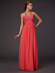 Coral Chiffon Beaded Halter Neck Ruched Bodice A-Line Long Prom Dress