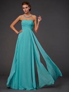 Simple Strapless Sweetheart Empire Waist A-Line Long Bridesmaid Dress
