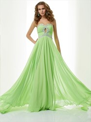 Apple Green Strapless Sweetheart A-Line Prom Dress With Keyhole Front