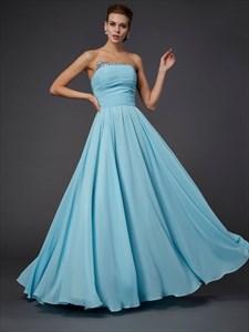 Simple Aqua Blue Strapless Floor Length A-Line Beaded Chiffon Dress