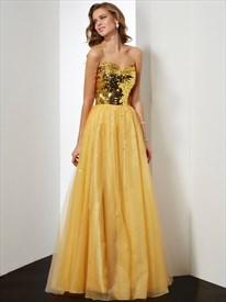 A-Line Strapless Sweetheart Sequin Bodice Floor Length Evening Dress