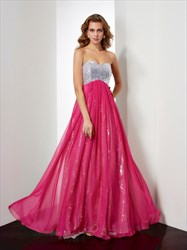Hot Pink Strapless Sequin Bodice Empire Waist Cut Out Waist Prom Dress