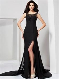 Black Sleeveless Long Mermaid Prom Dress With Illusion Beaded Bodice