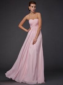 Blush Pink Empire Waist Strapless A-Line Chiffon Dress With Cutouts