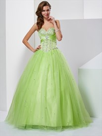 Light Green Strapless Sweetheart Beaded Corset Bodice Tulle Ball Gown