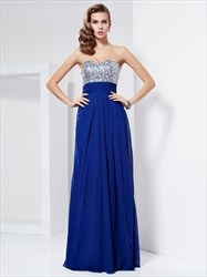 Royal Blue Strapless Empire Waist Chiffon Prom Dress With Cutout Back