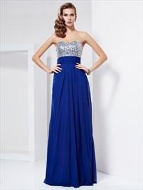 Royal Blue Strapless Empire Waist Chiffon Prom Dress With Cutout Back