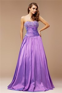 Purple Strapless Beaded Top Ruched Waist Floor Length A-Line Prom Gown