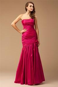Elegant Fuchsia Strapless Dropped Waist Prom Dress With Flower Detail