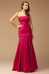 Elegant Fuchsia Strapless Dropped Waist Prom Dress With Flower Detail