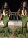 Illusion Sleeveless Lace Embellished Mermaid Formal Dress With Train
