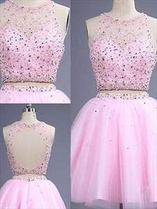 Pink A Line Short Beaded Two Piece Homecoming Dress With Keyhole Back