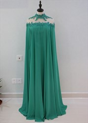 Emerald Green High-Neck Floor-Length Chiffon Evening Dress With Cape