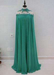 Emerald Green High-Neck Floor-Length Chiffon Evening Dress With Cape