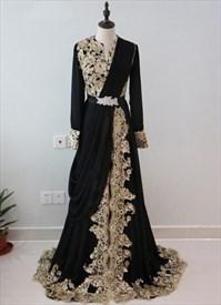 Vintage Black Sequin Embellished A-Line Prom Dress With Long Sleeve