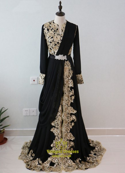 Vintage Black Sequin Embellished A Line Prom Dress With
