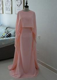 Elegant Simple Blush Pink Floor-Length Chiffon Prom Dress With Cape