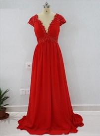 Red Cap Sleeve Plunge V-Neck Empire Waist Beaded Chiffon Prom Dress